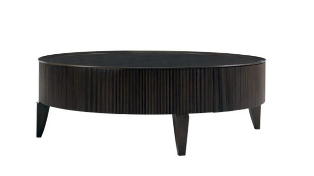 Elegant Reeded Round Cocktail Table. Barbara Barry For Henredon