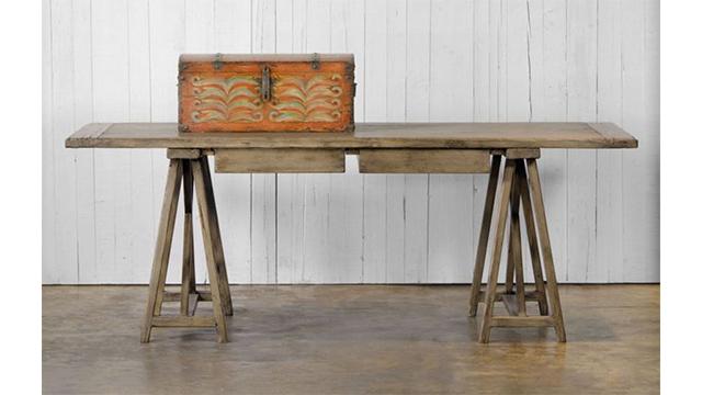 Trestle desk - scrubbed walnut finish