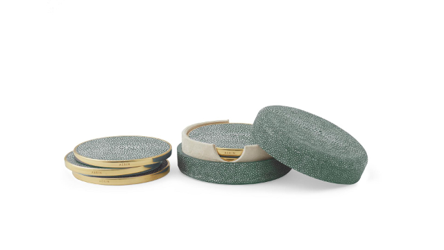 Shagreen Coaster Set Emerald
