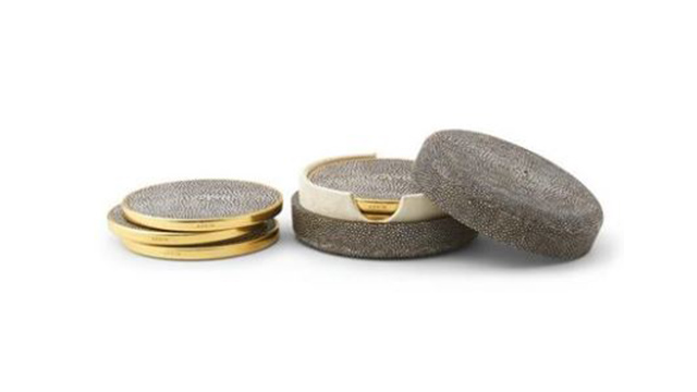Chocolate Shagreen Coaster Set
