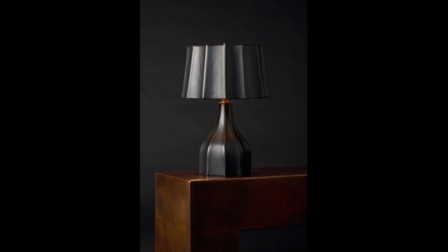 Black Lacquer Faceted Lamp and Shade