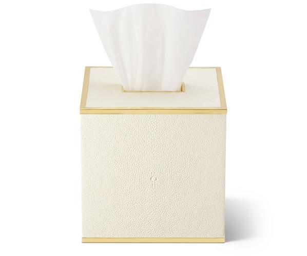 Classic Shagreen Tissue Box Cover Cream