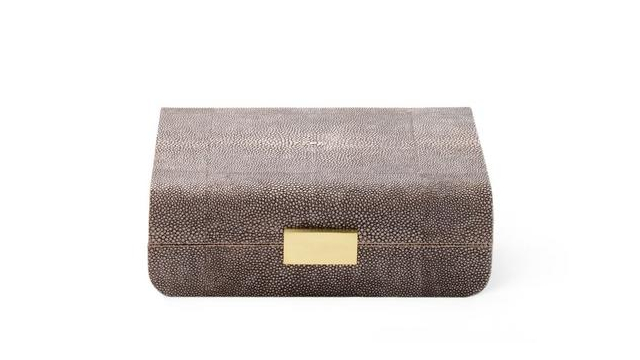 Modern Shagreen Small Jewellery Box Chocolate