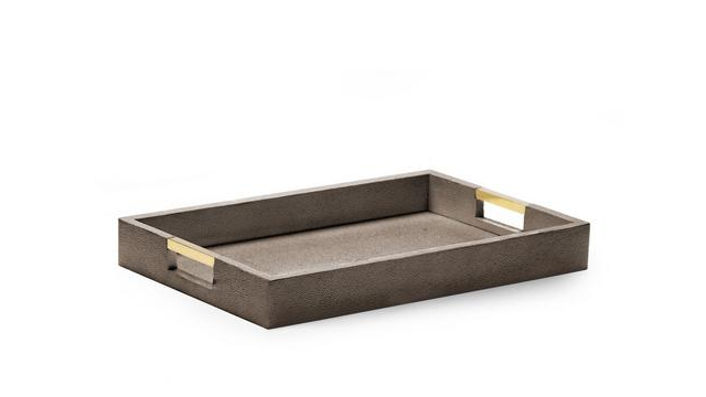 Modern Shagreen Desk Tray Chocolate
