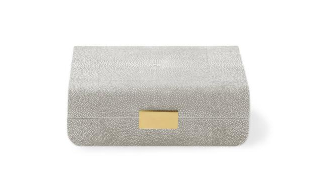Modern Shagreen Small Jewellery Box Dove