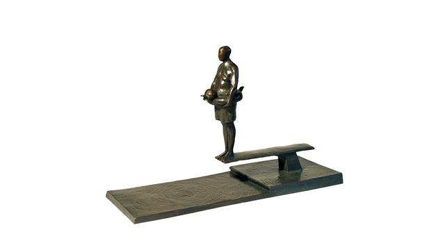 Man on Diving Board Bronze Sculpture