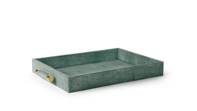 Classic Shagreen Serving Tray Emerald
