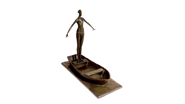 Girl on Boat Bronze Sculpture