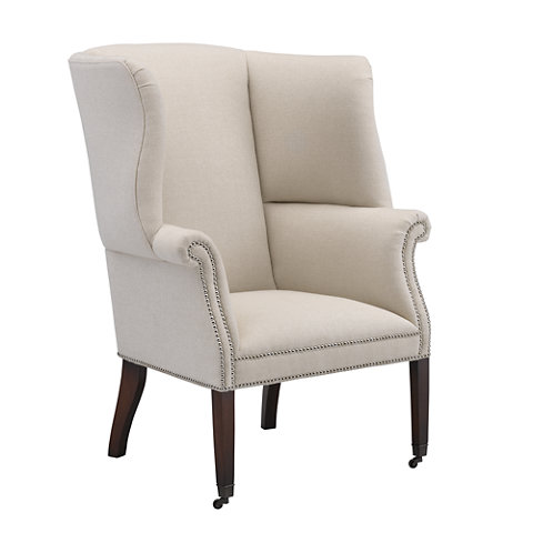 Hepplewhite wing chair upholstered back
