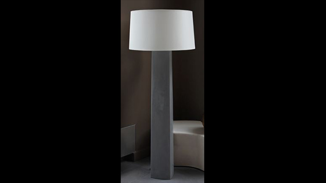 Grey Lacquer Fang Bei Floor Lamp