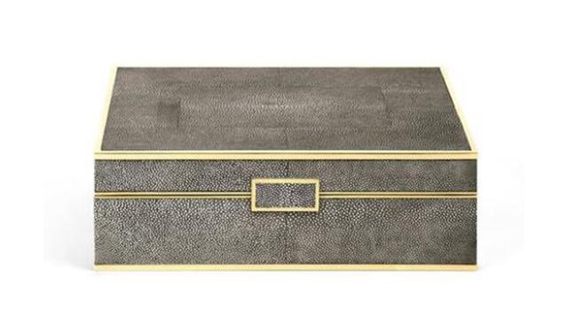 Chocolate Shagreen jewellery Box Large