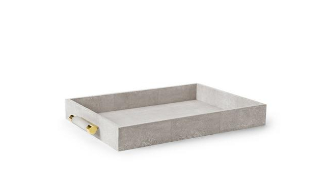 Classic Shagreen Serving Tray Dove