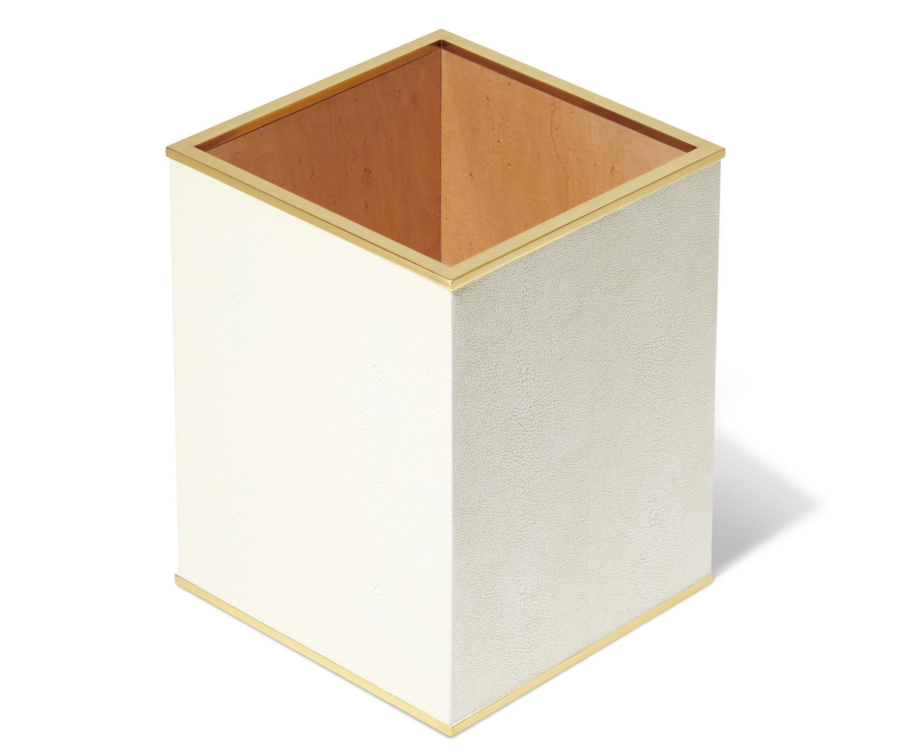 Classic Shagreen Waste Basket Cream