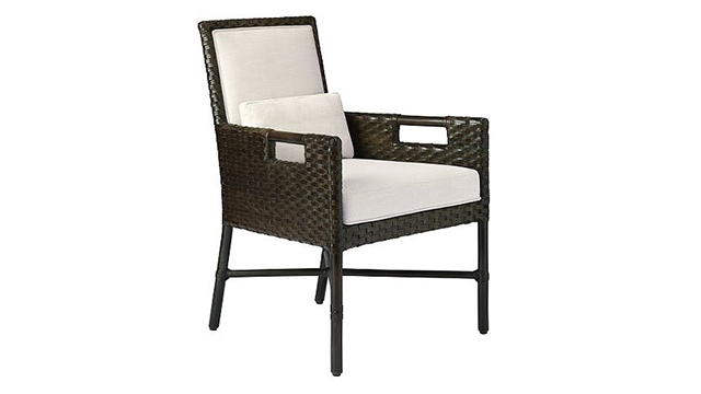 Woven Leather Dining Arm Chair
